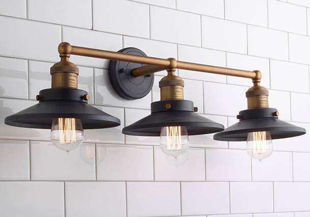 Bathroom vanity lighting distinguish your style shades of light industrial chic to rustic farmhouse bath lights aloadofball Image collections